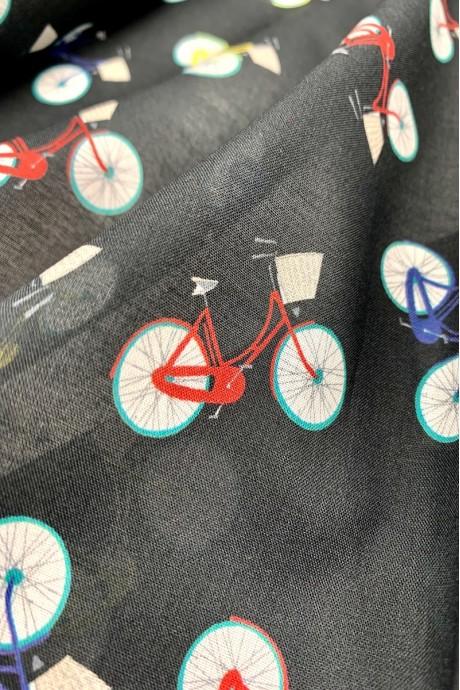 Батист с принтом велосипеды