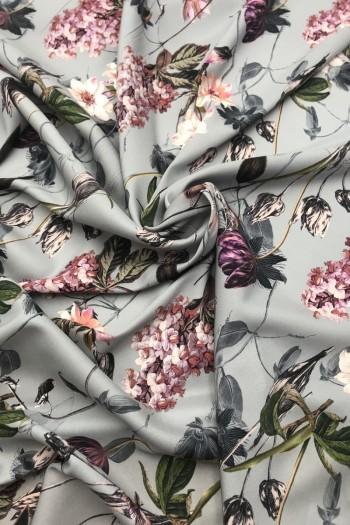 Матовый шелк с цветочным принтом